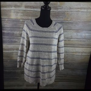 Madewell sweater size small tan blue stripes